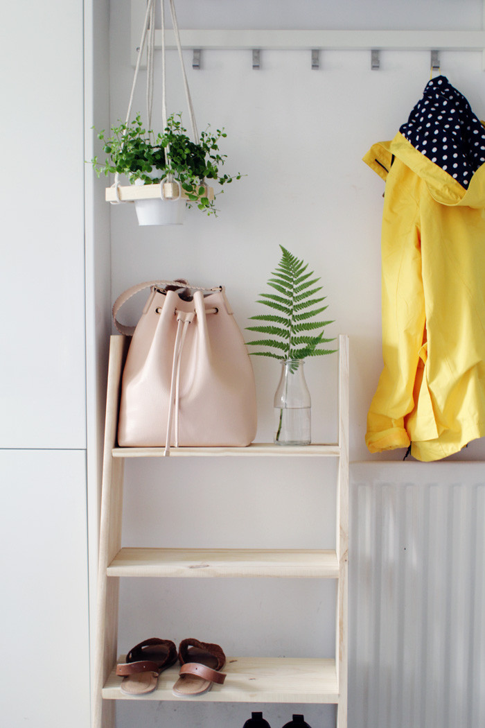 Best ideas about DIY Shoe Shelf . Save or Pin DIY Ladder Shelf Shoe Storage – Design Sponge Now.
