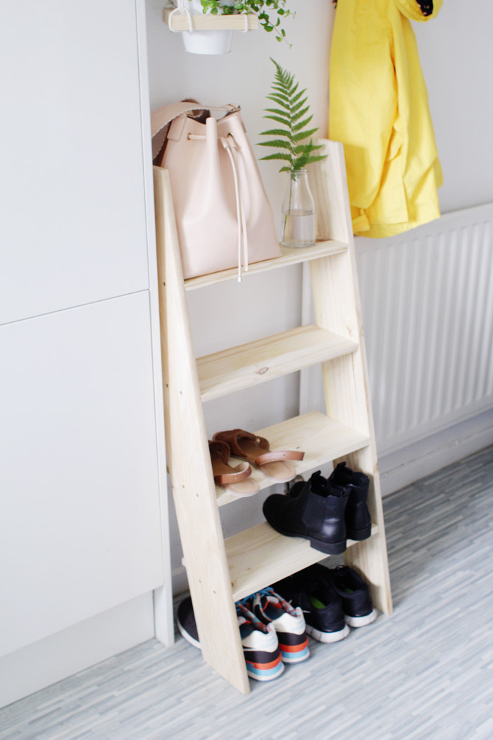 Best ideas about DIY Shoe Storage . Save or Pin DIY Ladder Shelf Shoe Storage – Design Sponge Now.