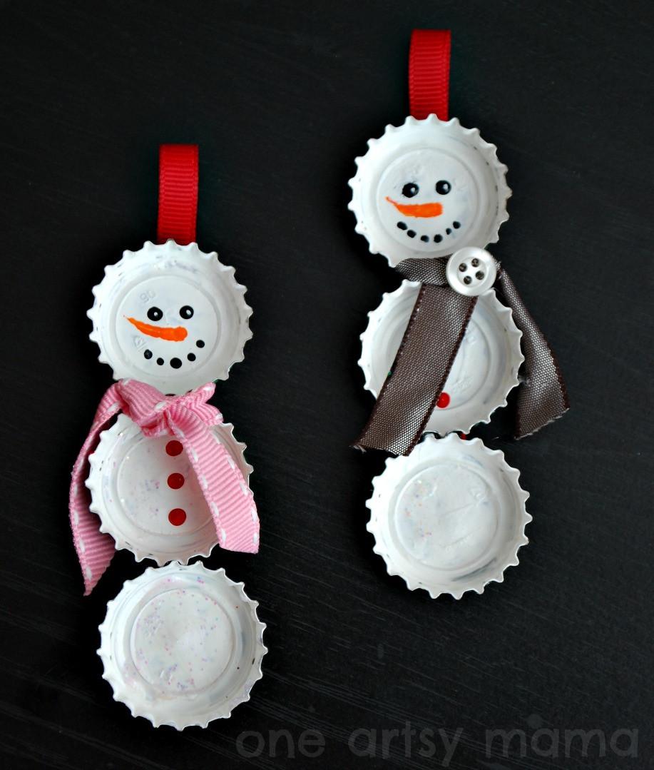 Best ideas about DIY Snowman Ornaments . Save or Pin Bottle Cap Snowman Ornaments Amy Latta Creations Now.