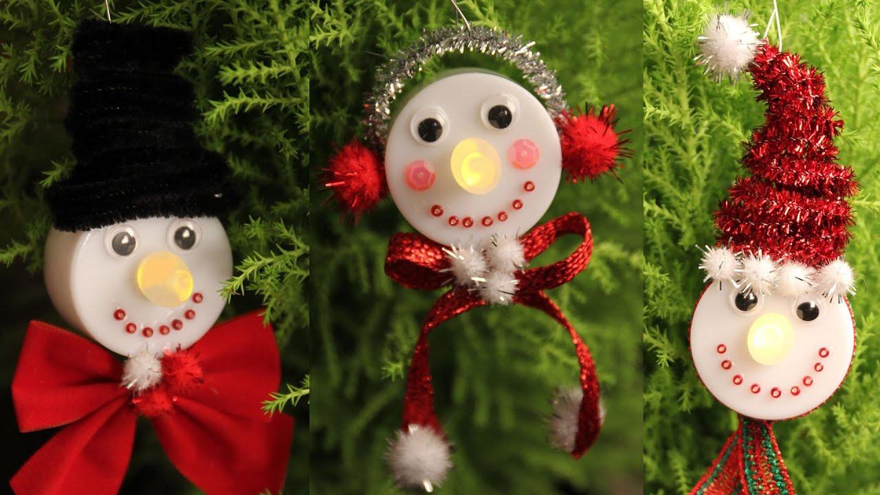 Best ideas about DIY Snowman Ornaments . Save or Pin Snowman Tea Light Christmas Ornaments Cheap Easy Now.