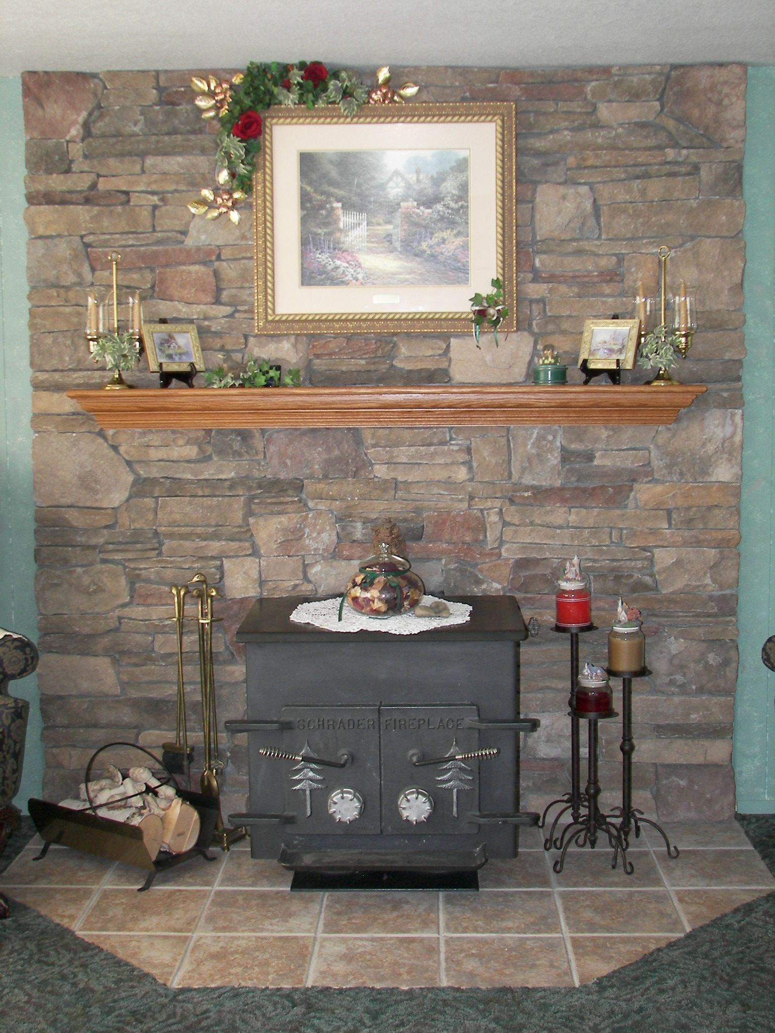 Best ideas about DIY Stone Wall Behind Wood Stove . Save or Pin pretty wood stove hearth and wall Now.