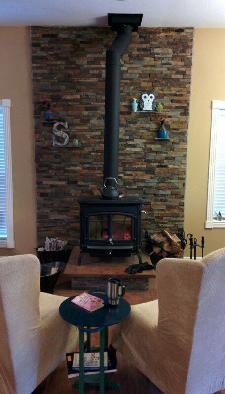 Best ideas about DIY Stone Wall Behind Wood Stove . Save or Pin Wood Stove stacked ledge stone wall with slate shelves Now.