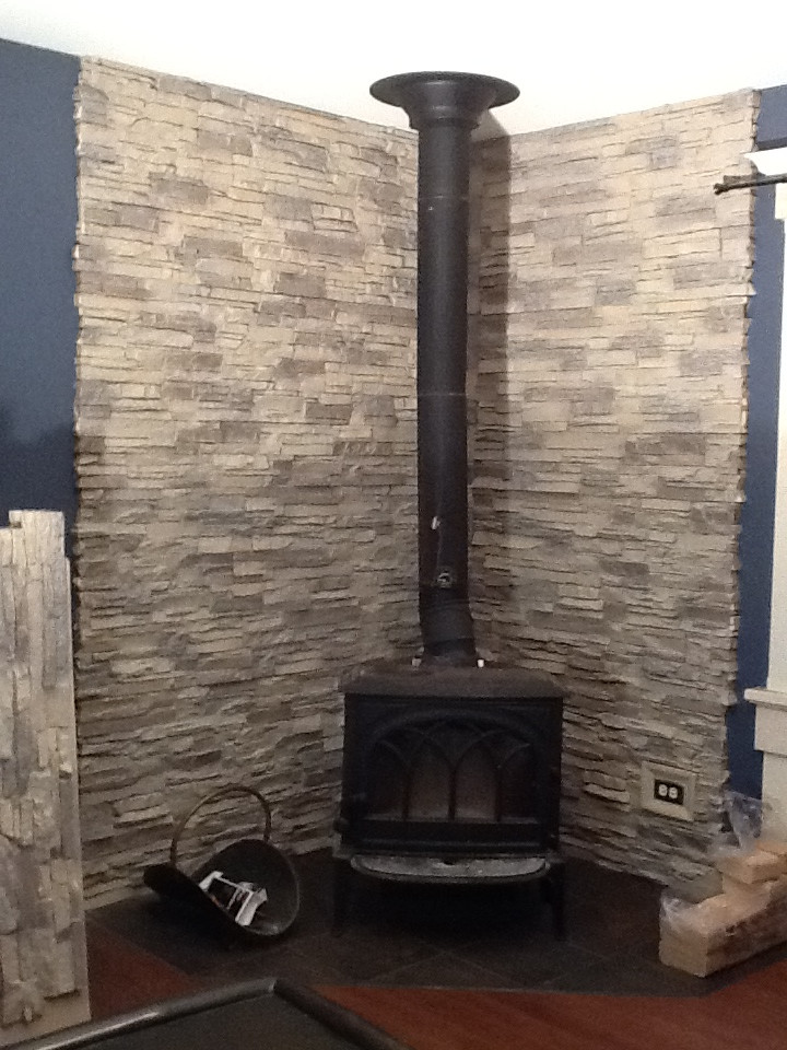 Best ideas about DIY Stone Wall Behind Wood Stove . Save or Pin Gorgeous DIY Wood Stove Backing Now.