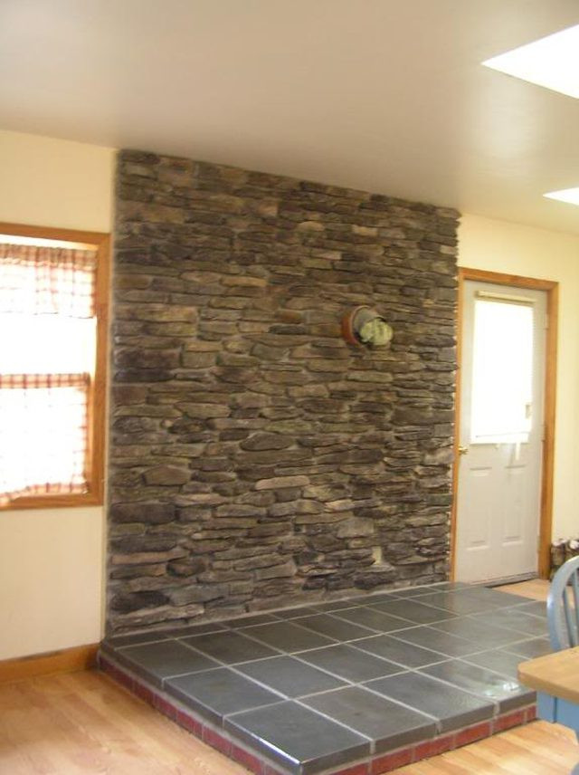 Best ideas about DIY Stone Wall Behind Wood Stove . Save or Pin How to Build a Stone Veneer Wood Stove Backing Now.