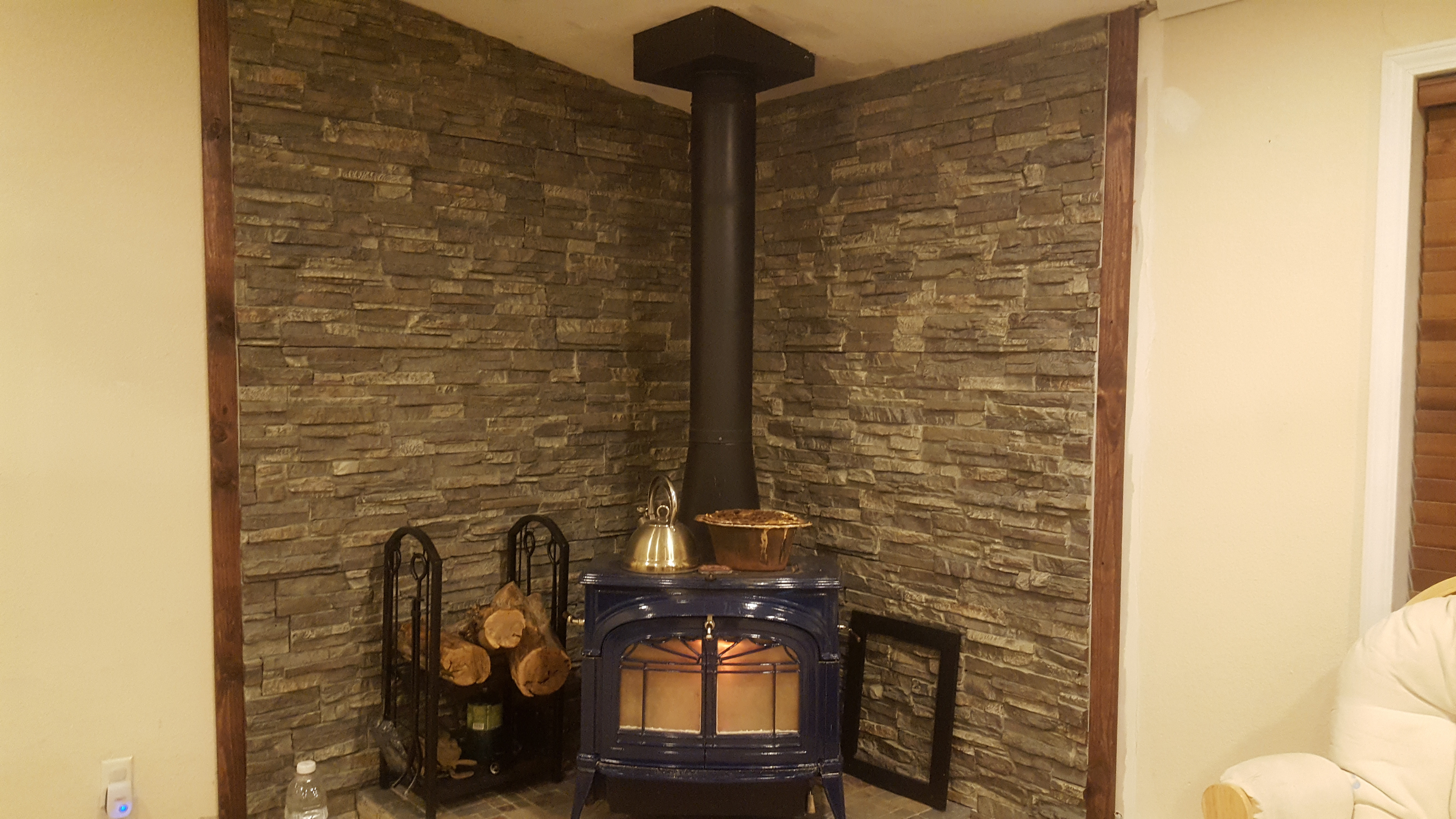 Best ideas about DIY Stone Wall Behind Wood Stove . Save or Pin Wall Behind Wood Stove Dream Stone A Creative Faux Panels Now.