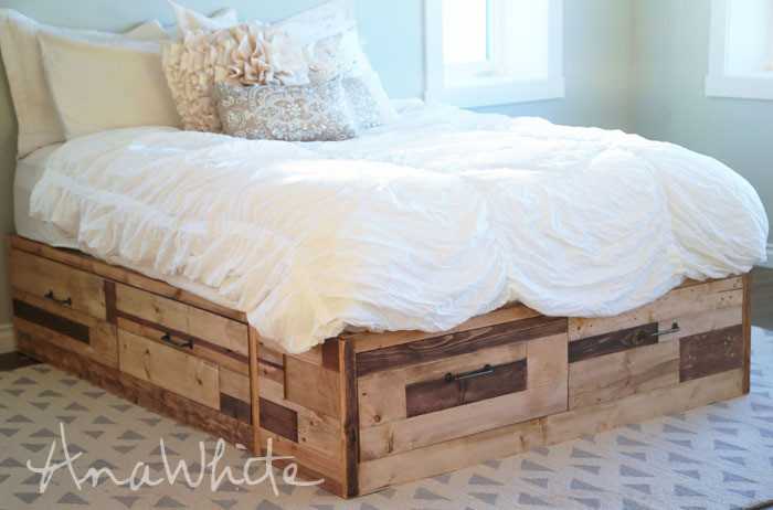 Best ideas about DIY Storage Bed Plans . Save or Pin Brandy Scrap Wood Storage Bed with Drawers KING Now.