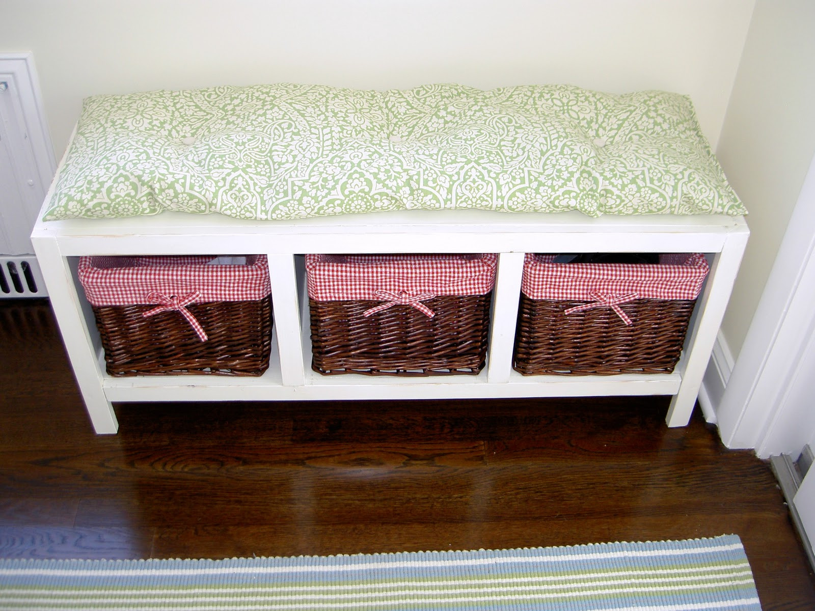 Best ideas about DIY Storage Bench . Save or Pin That s My Letter DIY Bench with Storage Baskets Now.