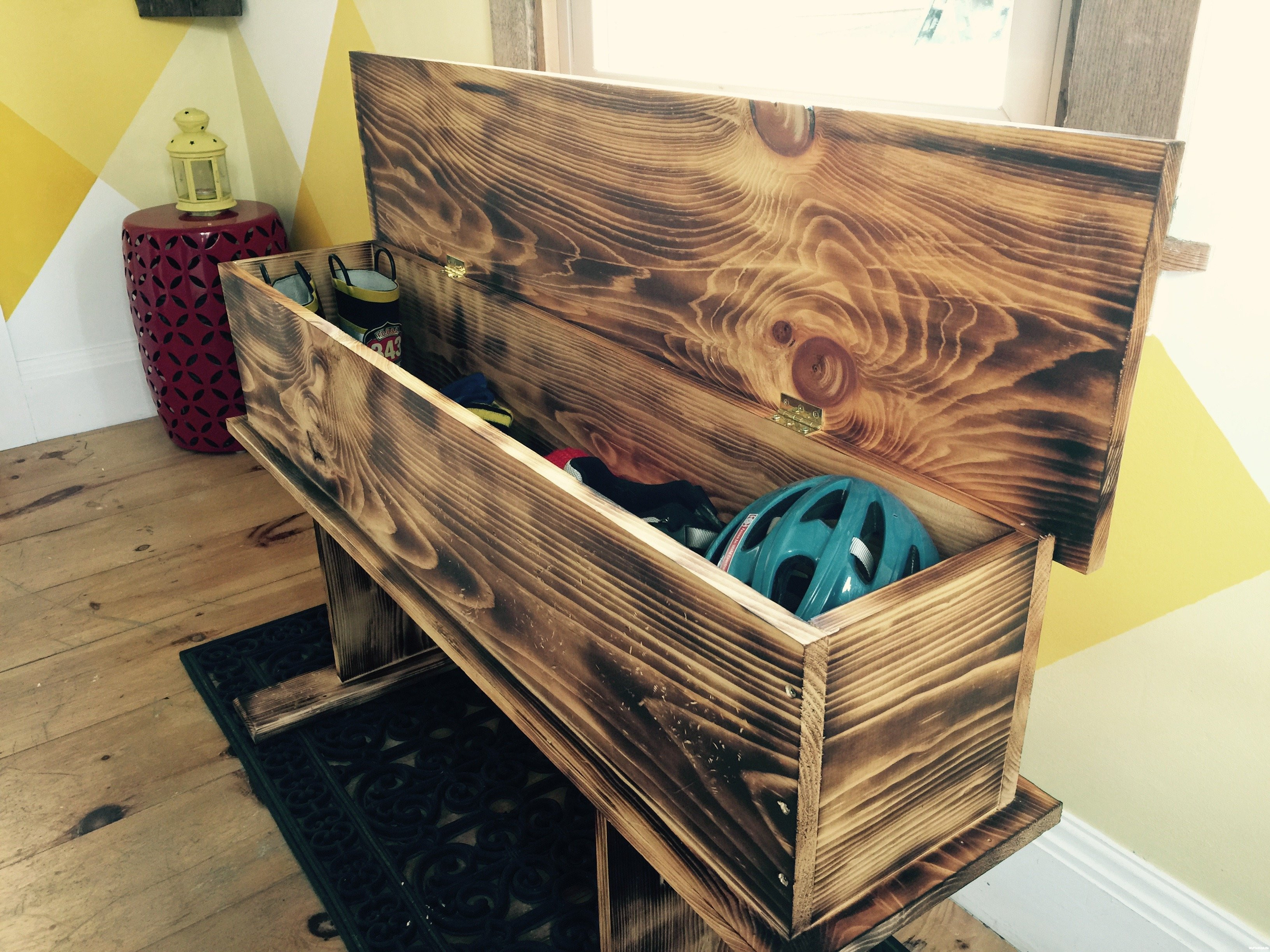 Best ideas about DIY Storage Bench . Save or Pin Love rustic How to make a burnt wood storage bench Now.
