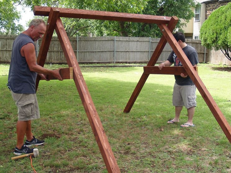 Best ideas about DIY Swing Frame . Save or Pin Exactly How to Build A Swing in About an Hour Now.