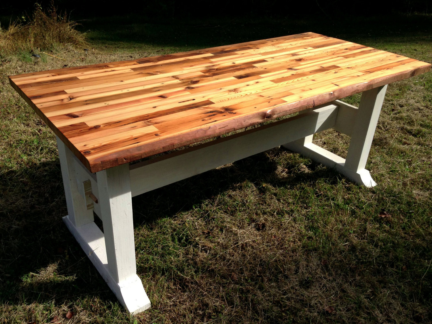 Best ideas about DIY Table Tops . Save or Pin Butcher block table top and trestle frame Now.