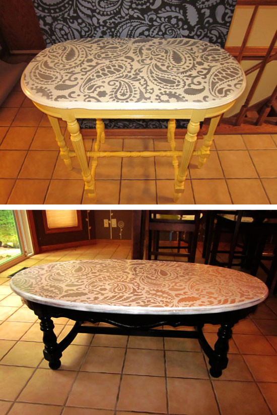Best ideas about DIY Tabletop Ideas . Save or Pin Painting Ideas with Stencils DIY Paisley Tabletop Now.