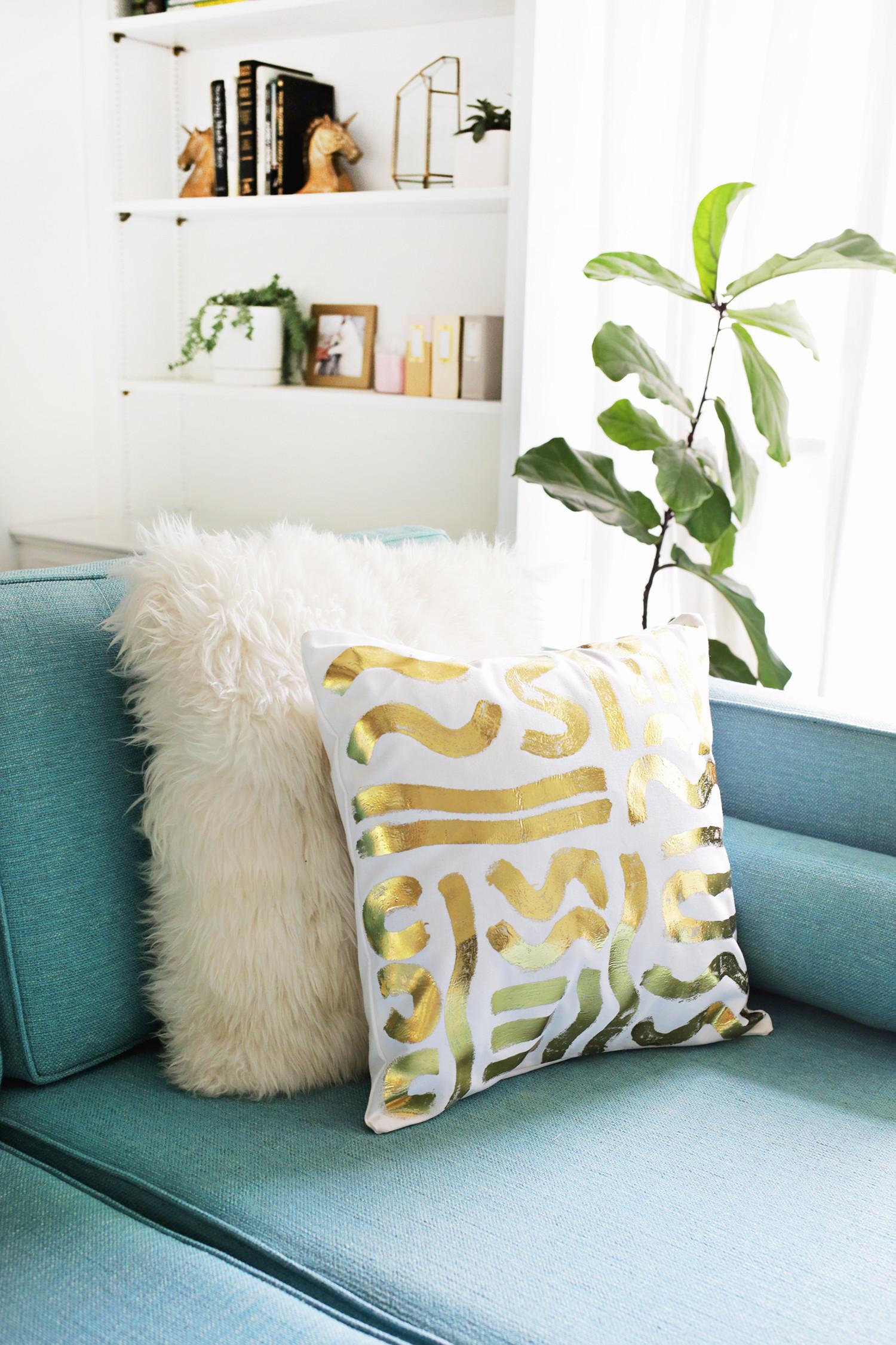 Best ideas about DIY Throw Pillows . Save or Pin Gold Foil Pillow DIY – A Beautiful Mess Now.
