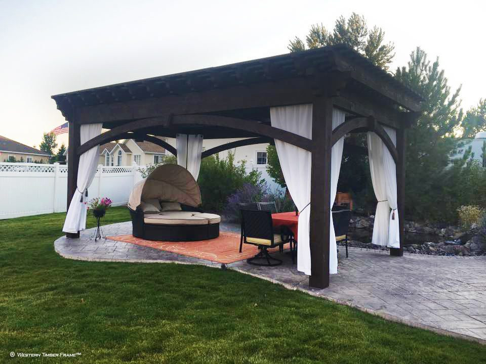 Best ideas about DIY Timber Frame Kit . Save or Pin DIY Pergola Kit Backyard Bed & Dining w Privacy Curtains Now.