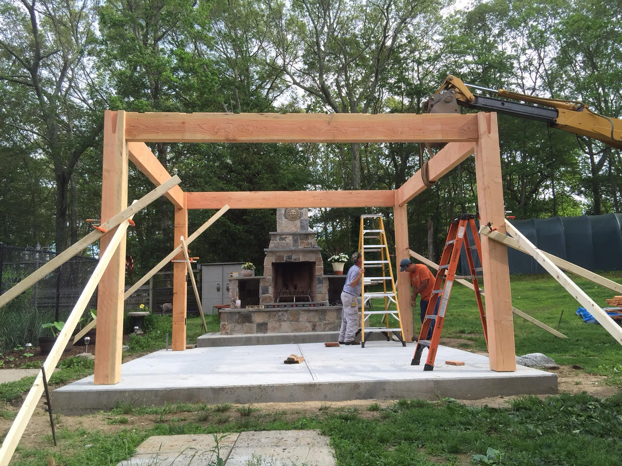 Best ideas about DIY Timber Frame Plans . Save or Pin Before & After DIY Pergola Kit for Rhode Island Fireplace Now.