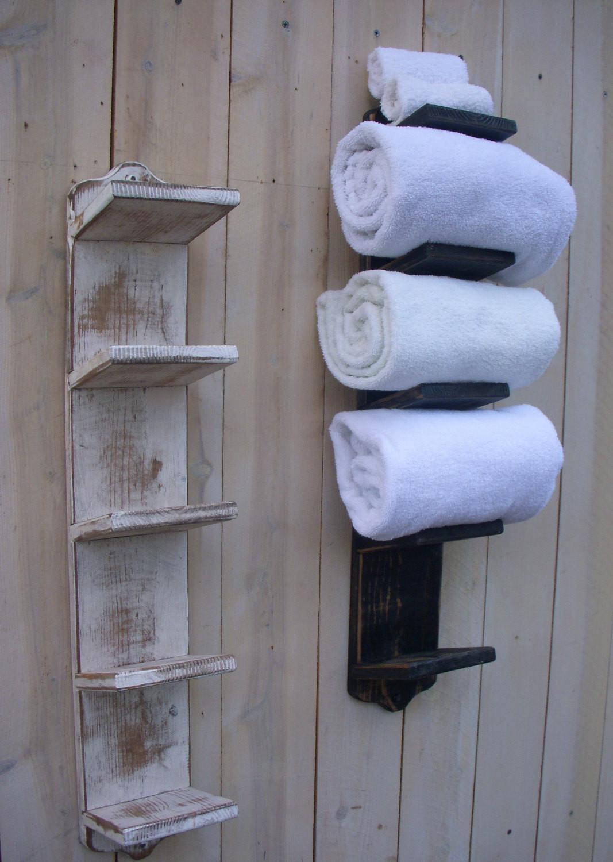 Best ideas about DIY Towel Rack . Save or Pin Handmade Bathroom Towel Holder Rack Bath Decor Wood Now.