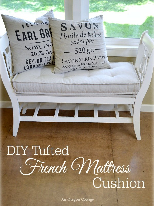 Best ideas about DIY Tufted Bench Cushion . Save or Pin DIY Tufted French Mattress Cushion Ballard Catalog Knockoff Now.