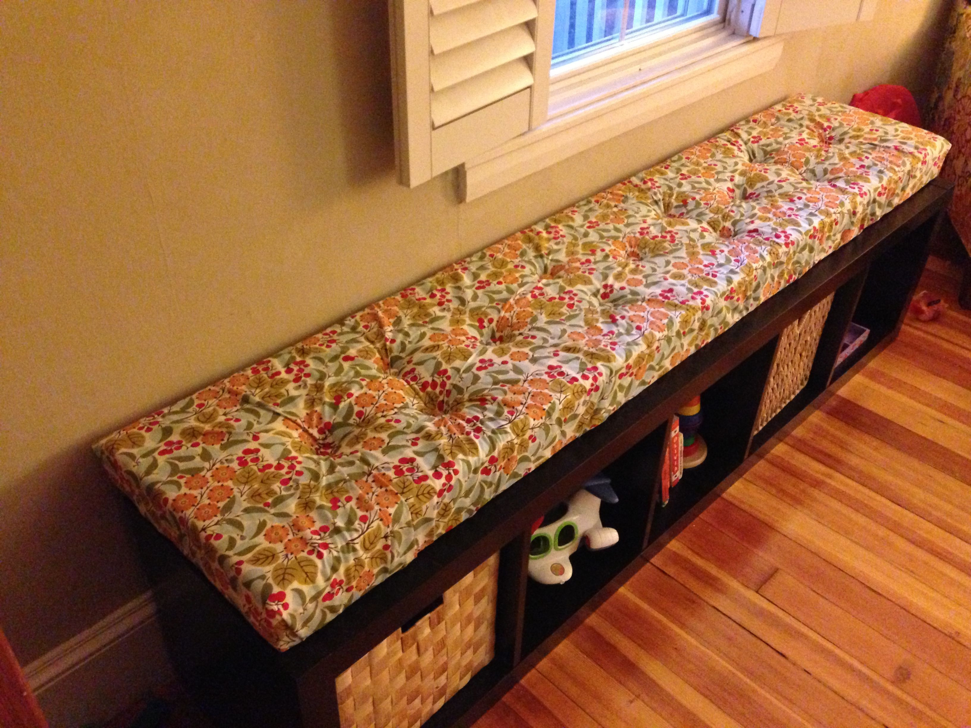 Best ideas about DIY Tufted Bench Cushion . Save or Pin DIY tufted window seat cushion for IKEA expedit shelving Now.