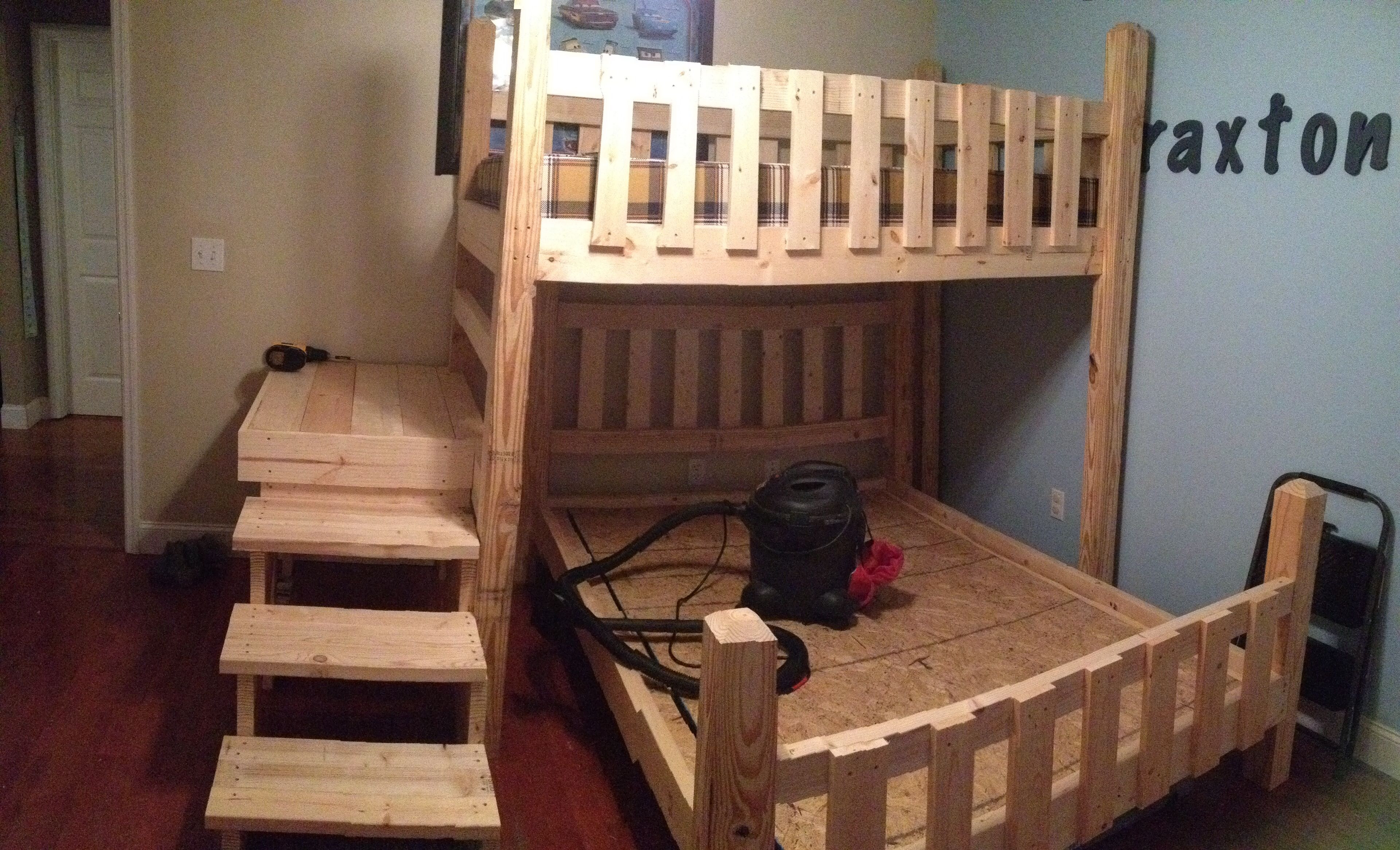Best ideas about DIY Twin Over Full Bunk Bed . Save or Pin DIY Bunk Beds with steps and platform Twin over full Now.