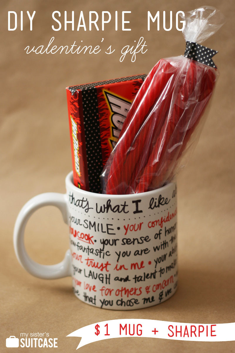 Best ideas about DIY Valentine Gifts . Save or Pin DIY Sharpie Mug Valentine Gift My Sister s Suitcase Now.