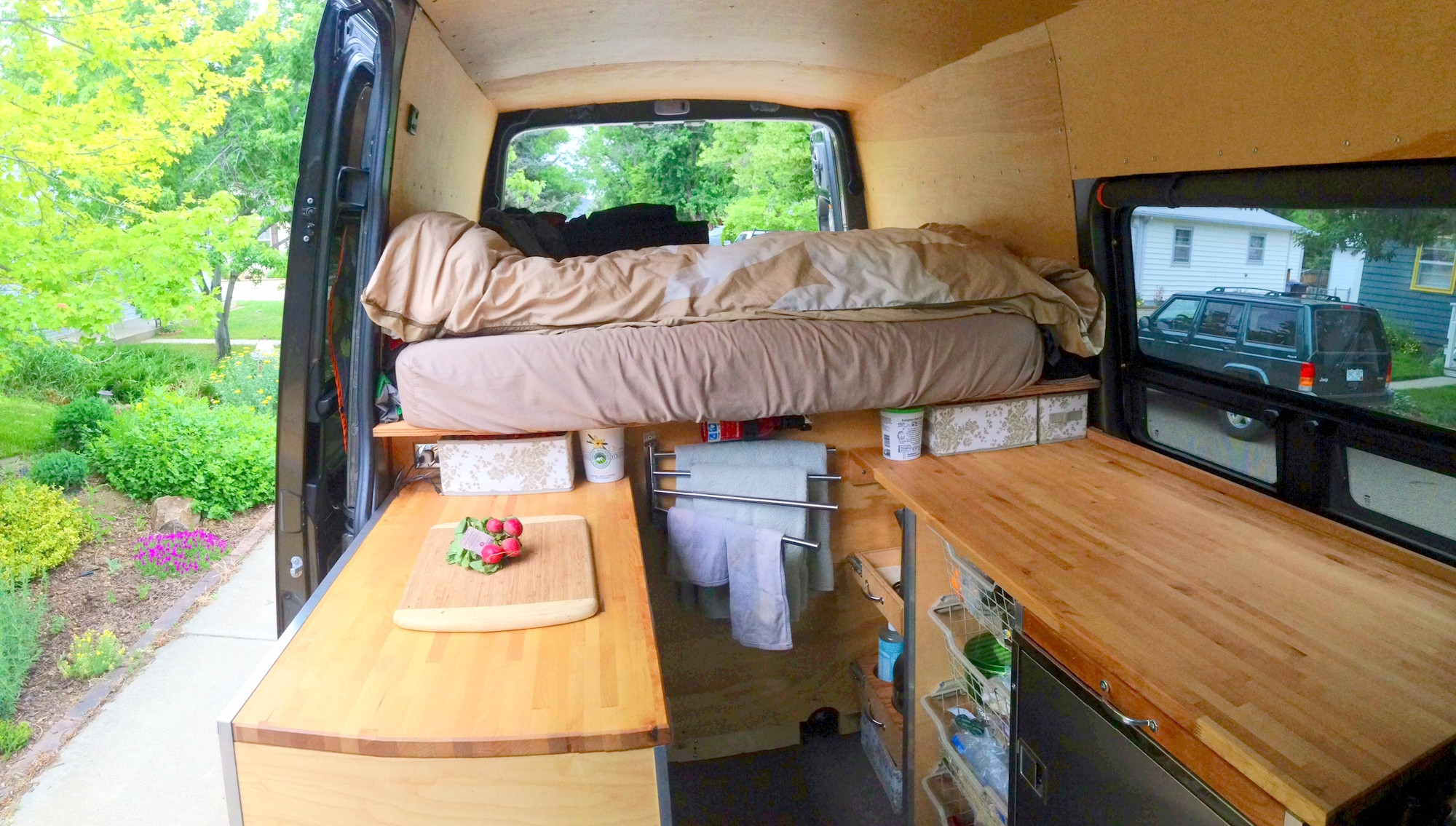Best ideas about DIY Van Camper . Save or Pin View sitting in front swivel seat looking back Ikea Now.