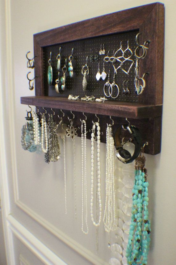Best ideas about DIY Wall Jewelry Organizer . Save or Pin Cherry Stained Wall Mounted Jewelry Organizer Wall Now.