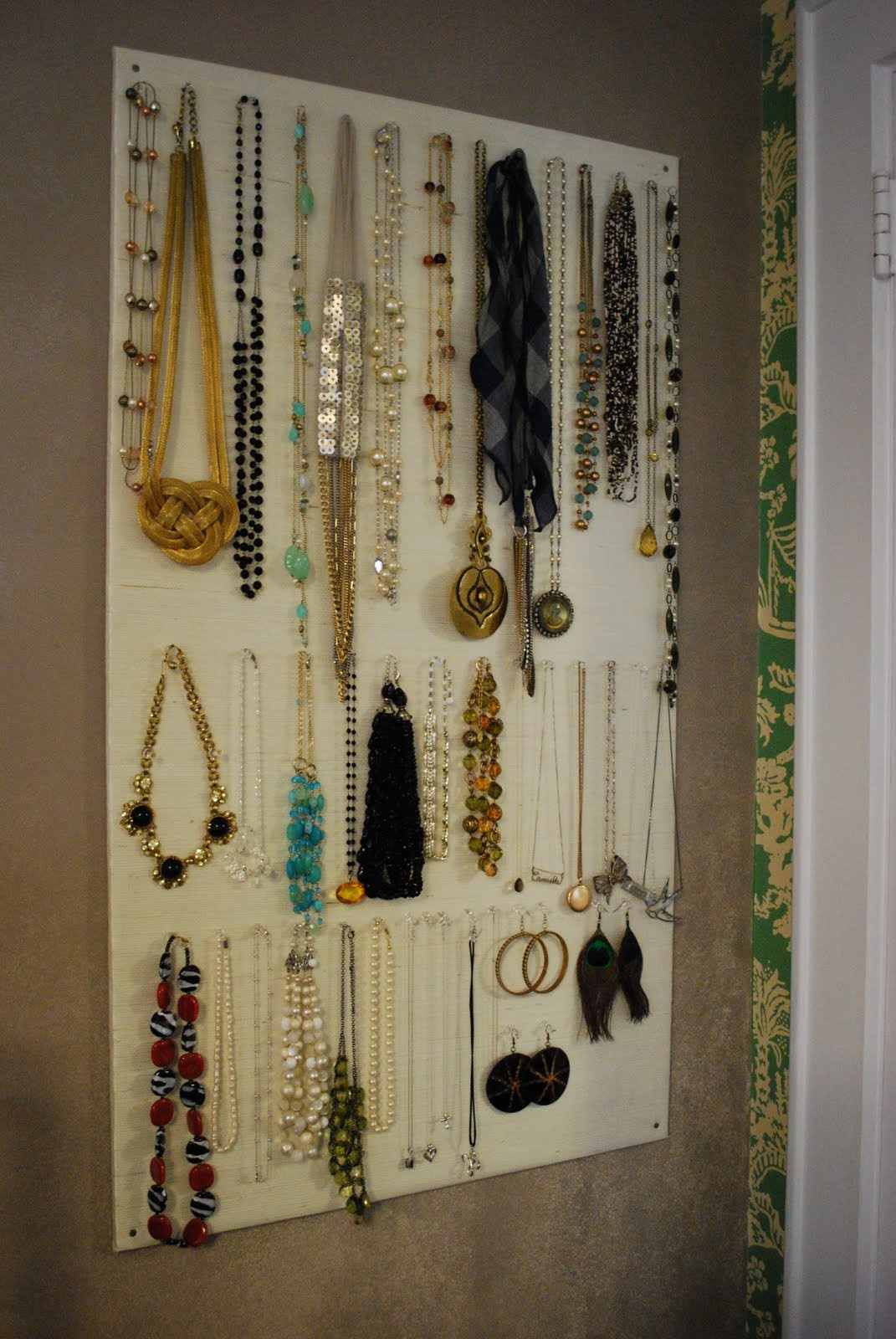 Best ideas about DIY Wall Jewelry Organizer . Save or Pin High Heeled Foot in the Door DIY Homasote Jewelry Organizer Now.