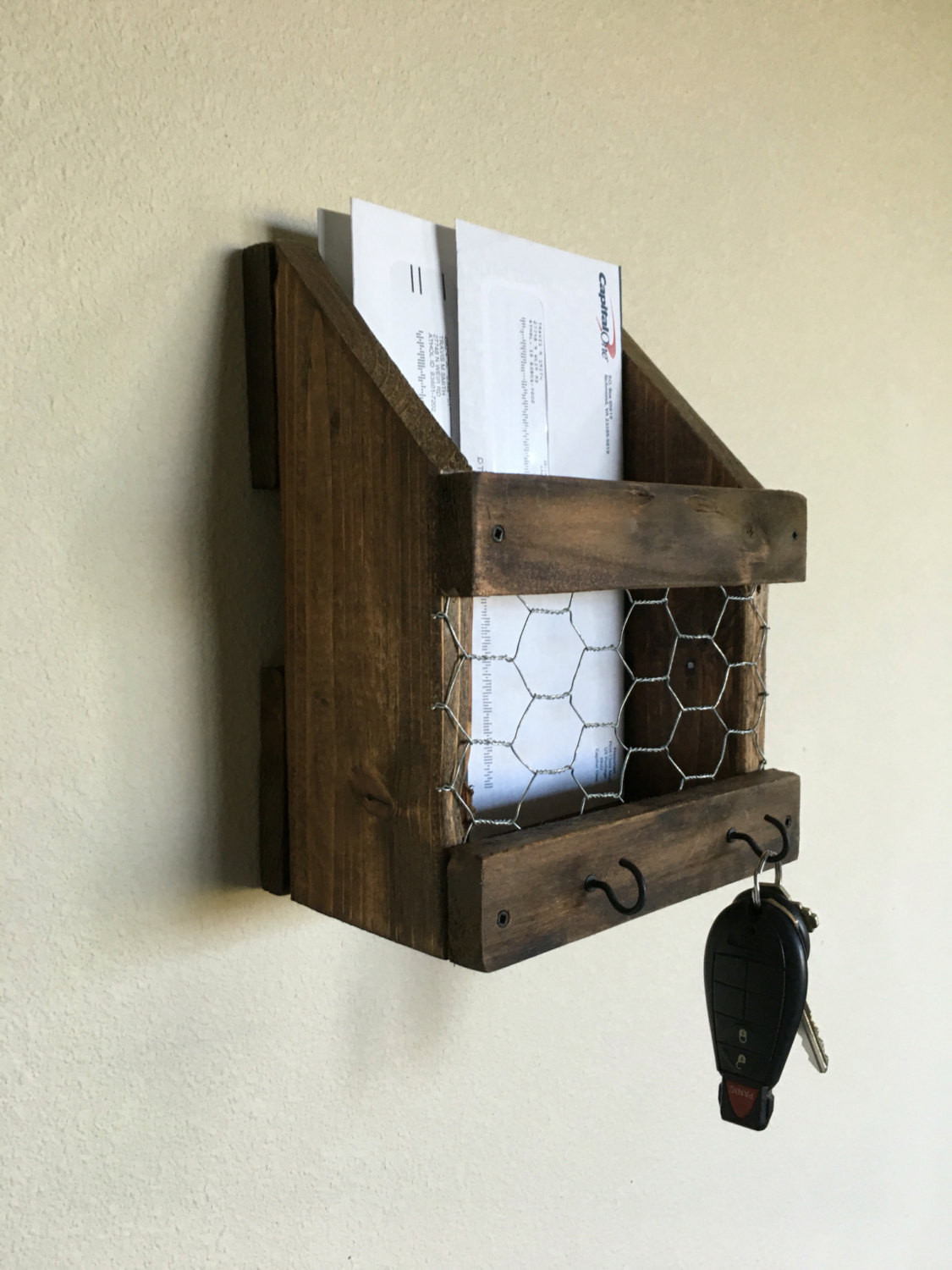Best ideas about DIY Wall Mail Organizer . Save or Pin DIY Wood Wall Mail Organizer With Key Hooks Now.