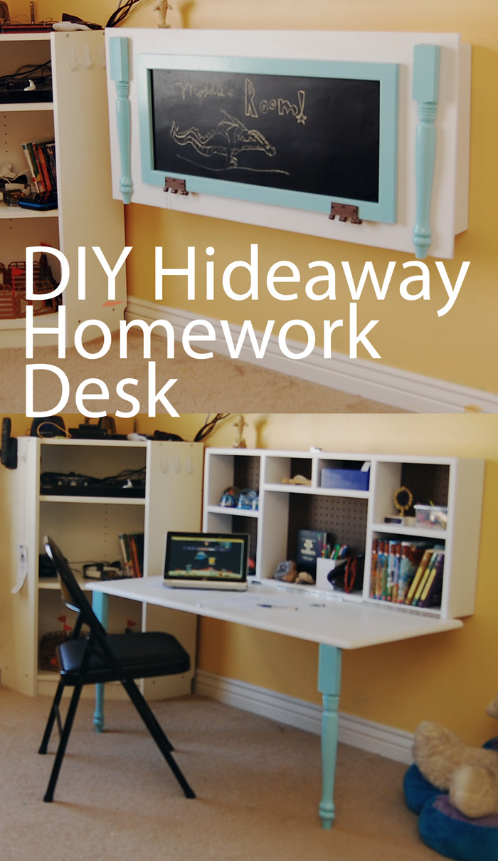 Best ideas about DIY Wall Table . Save or Pin DIY Kids Homework Hideaway Wall Desk The Organized Mom Now.