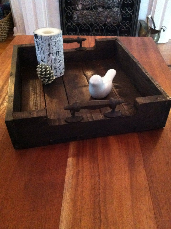 Best ideas about DIY Wood Trays . Save or Pin Reclaimed Dark Stained Pallet Wood Serving Tray With Metal Now.