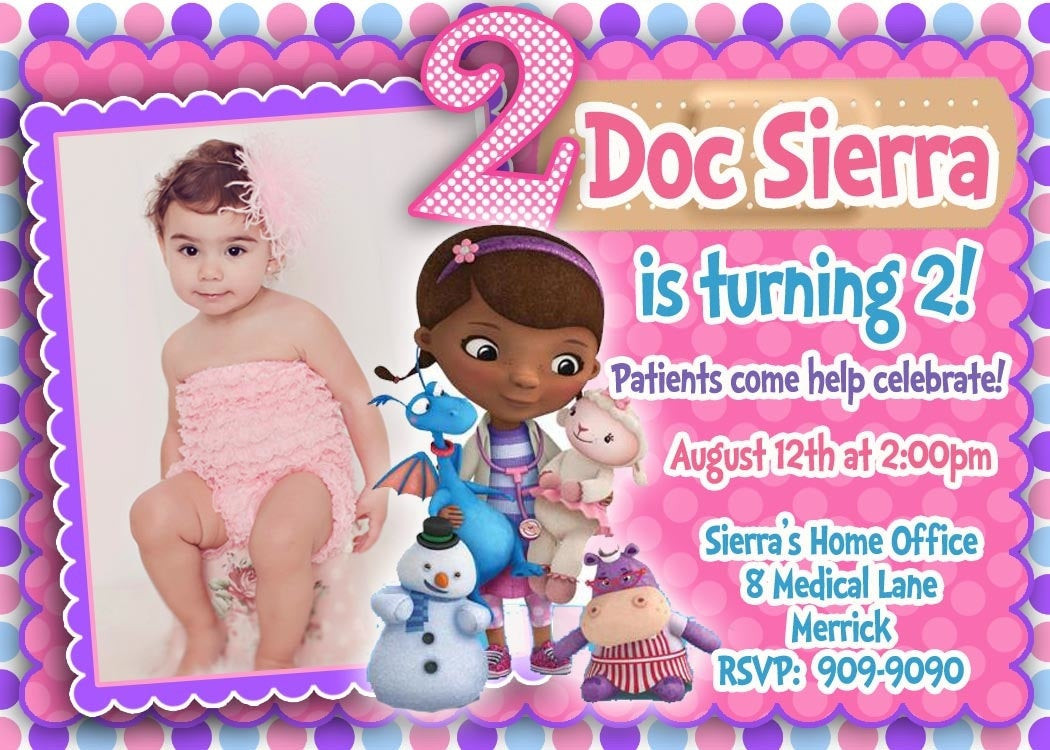 Best ideas about Doc Mcstuffins Birthday Invitations . Save or Pin CUSTOM PHOTO Invitations Doc McStuffins Birthday Invitation Now.