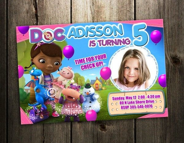 Best ideas about Doc Mcstuffins Birthday Invitations . Save or Pin Doc McStuffins DISNEY BIRTHDAY PARTY INVITATION CARD Now.