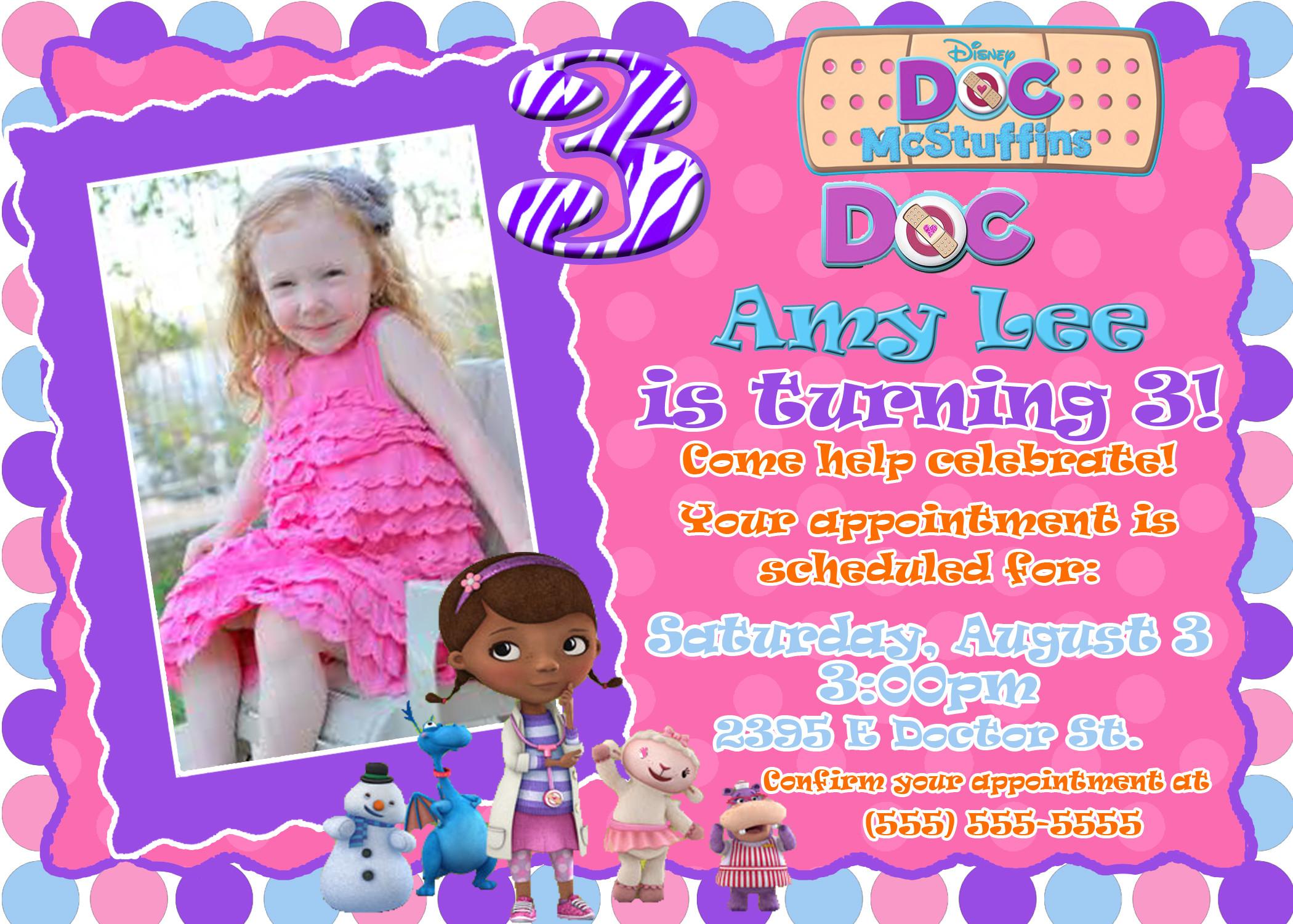 Best ideas about Doc Mcstuffins Birthday Invitations . Save or Pin Doc McStuffin's Birthday Invitation Now.