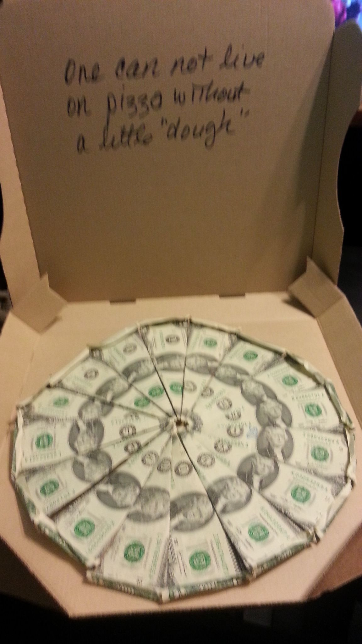 Best ideas about Dollar Bill Gift Ideas . Save or Pin Made with 2 dollar bills and an empty pizza box 16 Now.