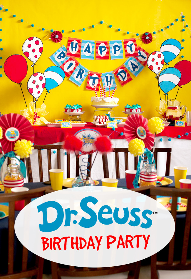 Best ideas about Dr.seuss Birthday Decorations . Save or Pin Dr Seuss Birthday Party Frog Prince Paperie Now.