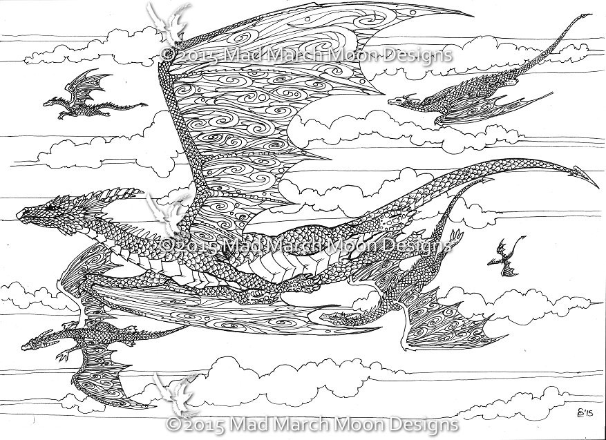 Best ideas about Dragons Coloring Pages For Adults . Save or Pin New Dragon adult colouring 5 page pdf booklet now Now.