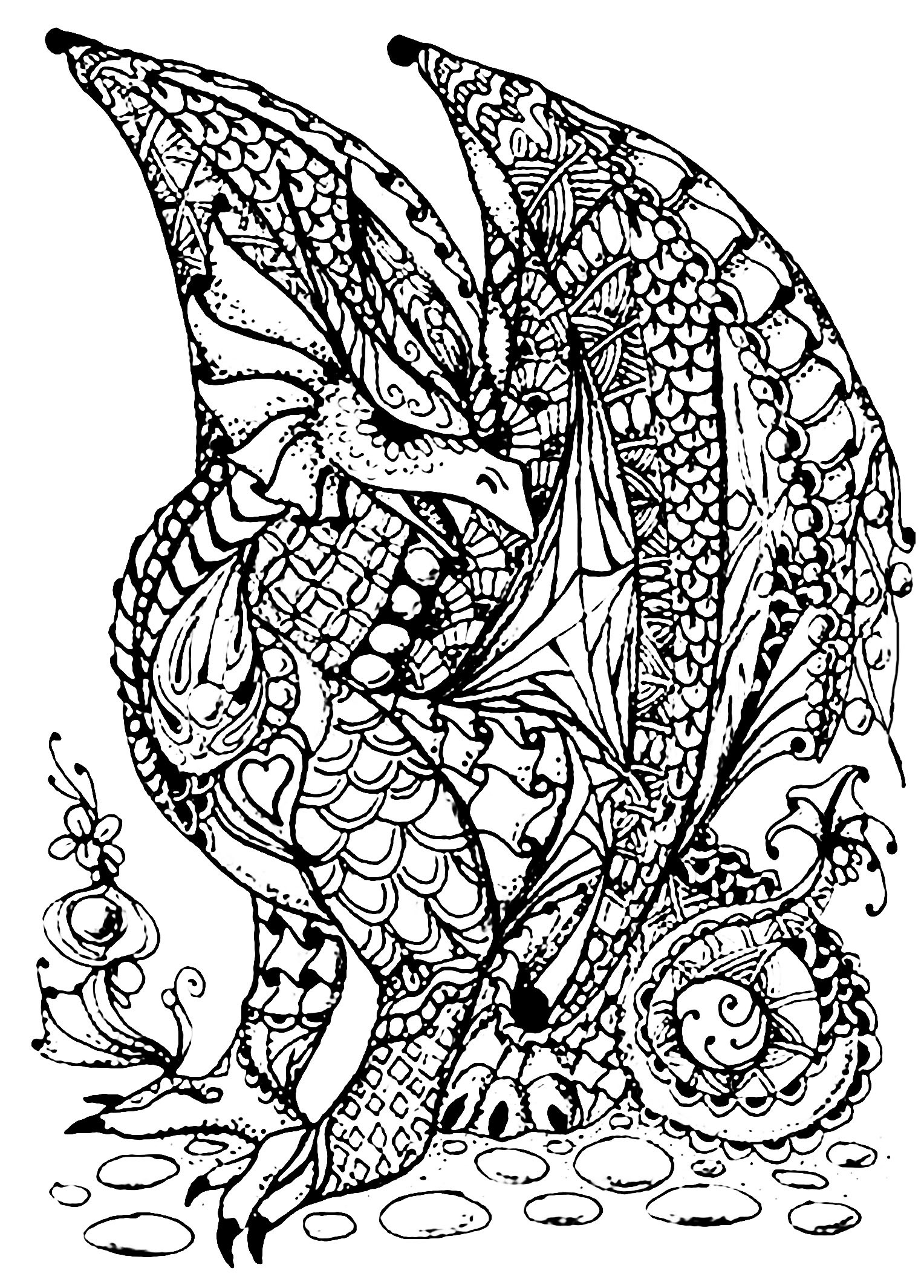 Best ideas about Dragons Coloring Pages For Adults . Save or Pin Dragon full of scales Dragons Adult Coloring Pages Now.