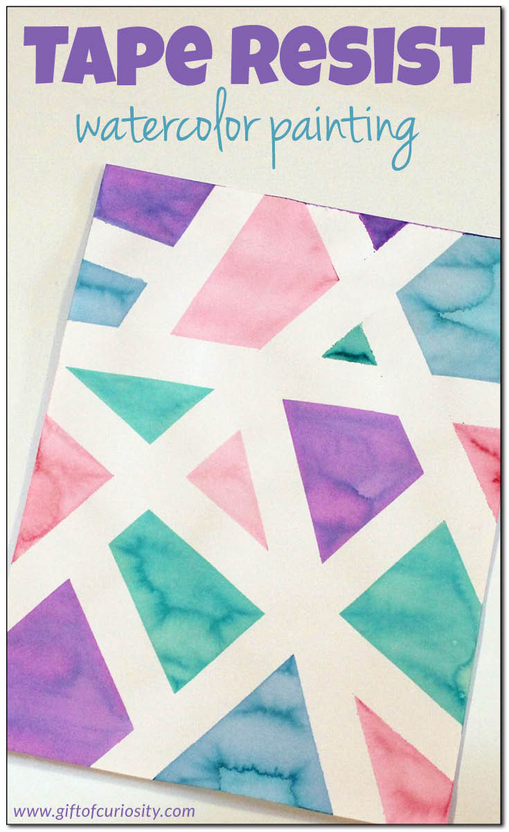 Best ideas about Easy Art Ideas . Save or Pin Tape resist watercolor painting Gift of Curiosity Now.