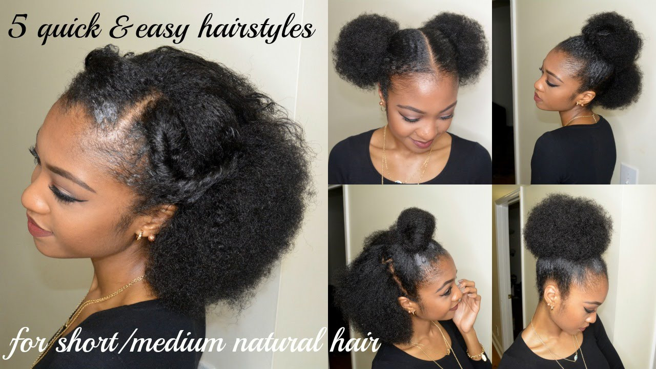 Best ideas about Easy Black Hairstyles For Medium Hair . Save or Pin 5 QUICK & EASY hairstyles for SHORT MEDIUM NATURAL HAIR Now.