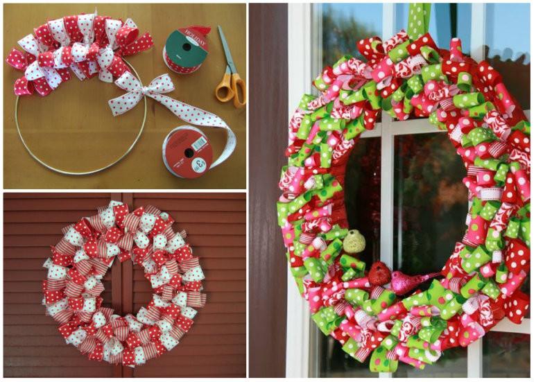Best ideas about Easy DIY Christmas Wreaths . Save or Pin Wonderful DIY Easy Ribbon Christmas Wreath Now.