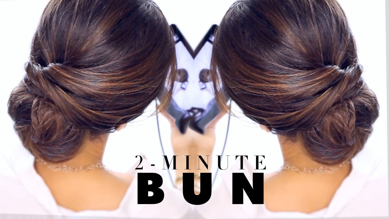 Best ideas about Easy Hairstyle Video . Save or Pin 2 Minute Elegant BUN Hairstyle ★ EASY Updo Hairstyles Now.
