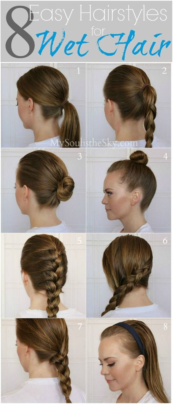 Best ideas about Easy Hairstyles For Wet Hair . Save or Pin Wet hair Easy hairstyles and Running late on Pinterest Now.