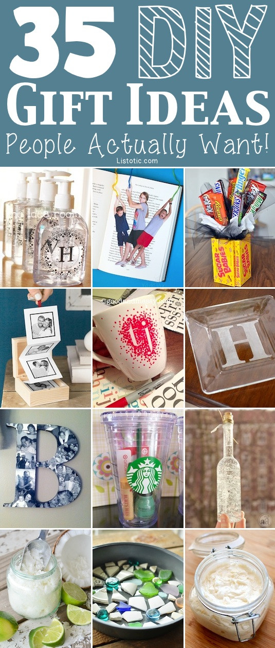 Best ideas about Easy Homemade Gift Ideas . Save or Pin 35 Easy DIY Gift Ideas People Actually Want for Now.
