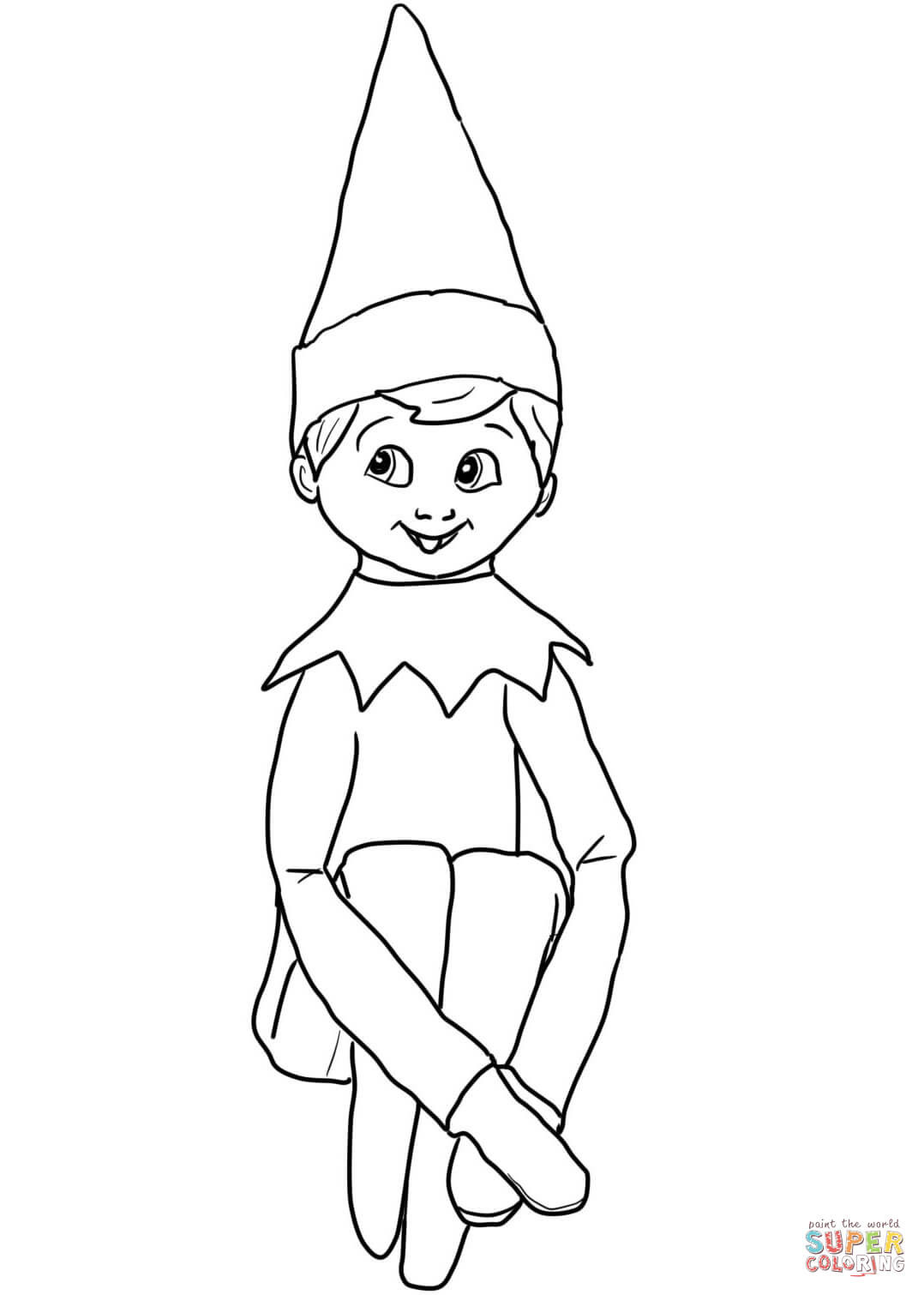 Best ideas about Elf On The Shelf Printable Coloring Pages . Save or Pin Christmas Elf on Shelf coloring page Now.
