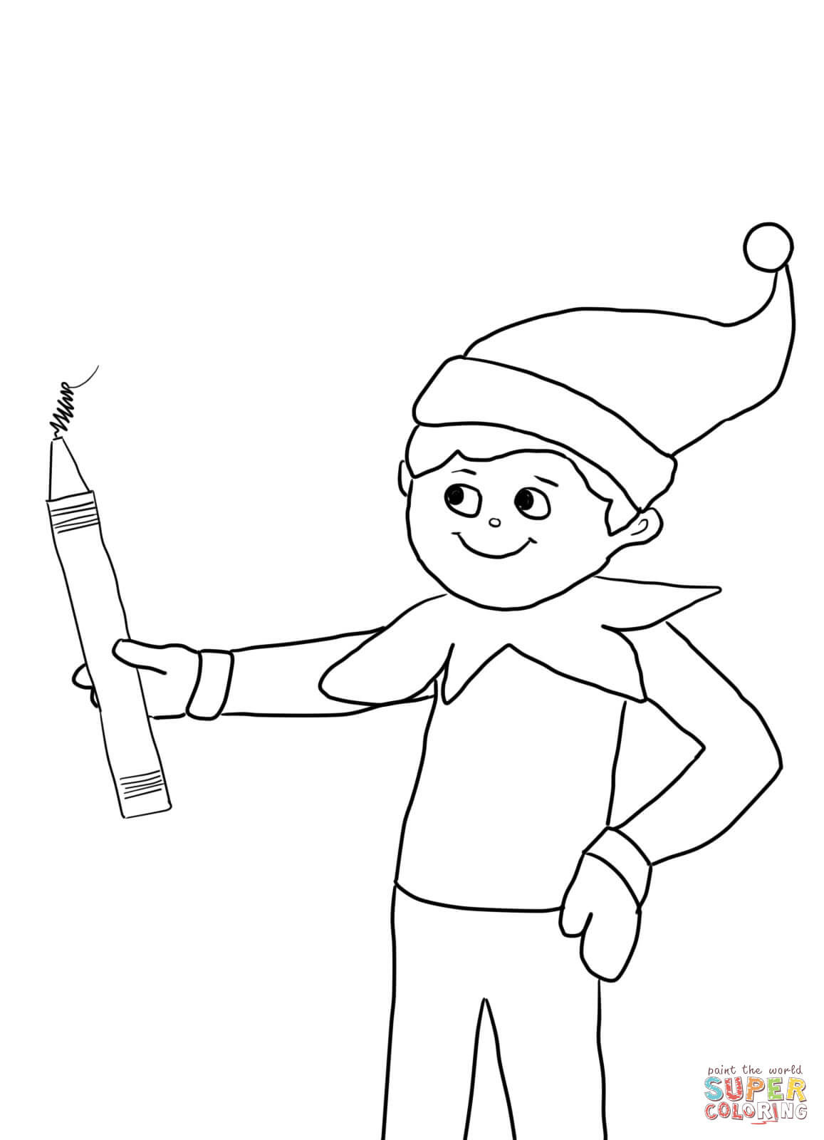 Best ideas about Elf On The Shelf Printable Coloring Pages . Save or Pin Elf on the Shelf with Pencil coloring page Now.