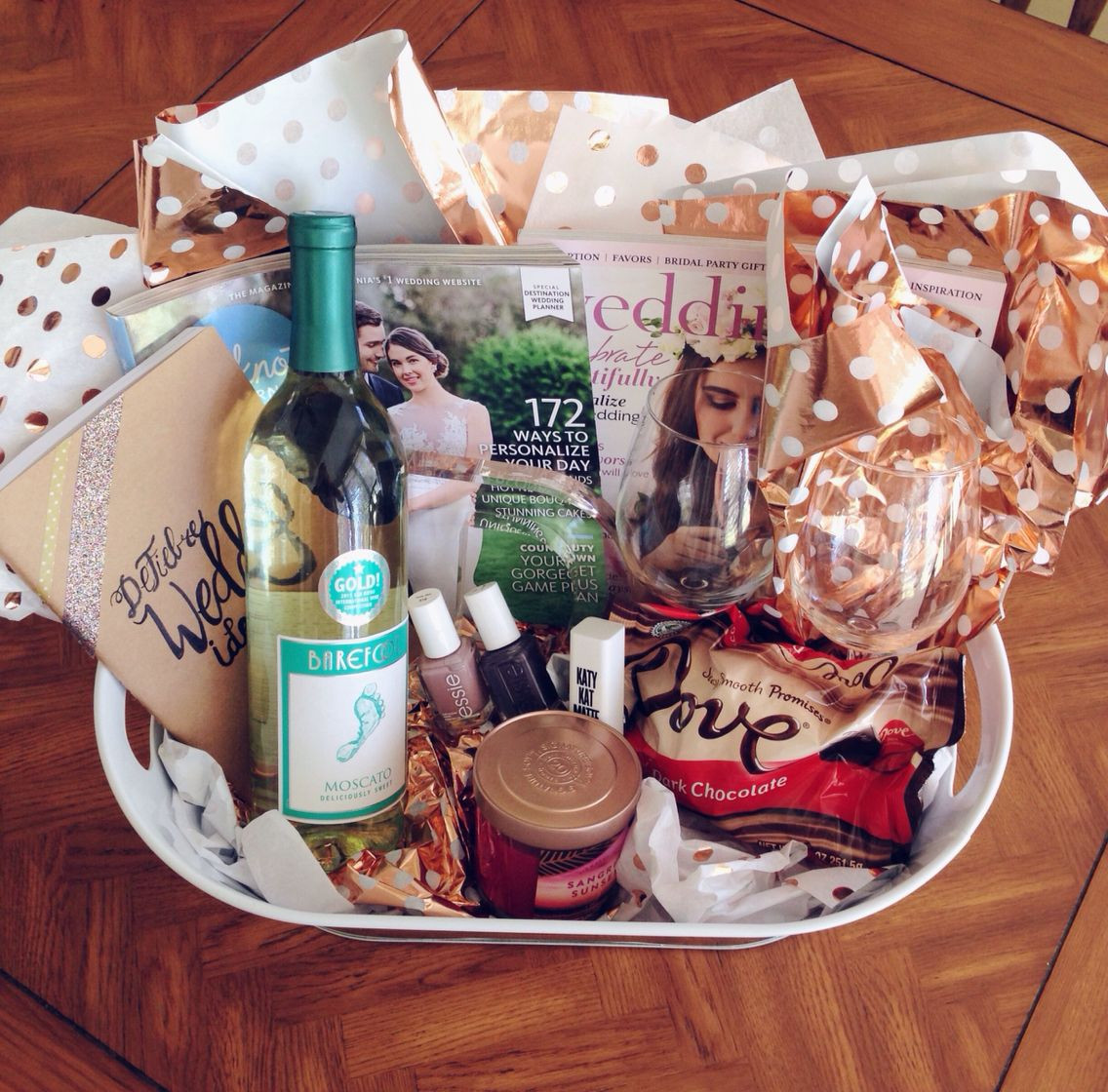 Best ideas about Engagement Gift Basket Ideas . Save or Pin Engagement Gift Basket Survival Kit Everything your Now.