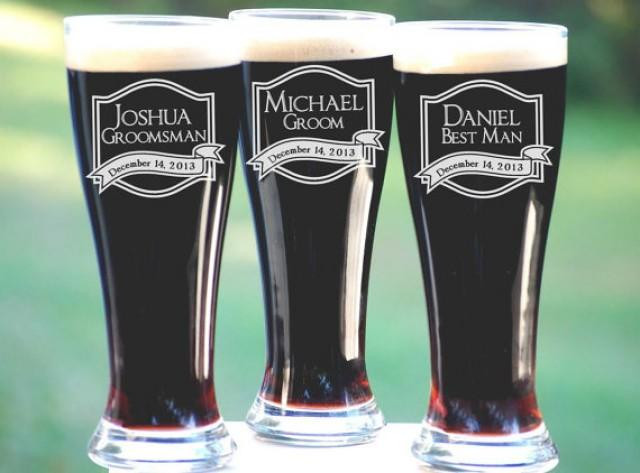 Best ideas about Engraved Gift Ideas . Save or Pin Best Groomsmen Gifts 6 Personalized Beer Glasses Unique Now.