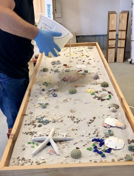Best ideas about Epoxy Resin Table Top DIY . Save or Pin DYS epoxy countertop with shells Now.