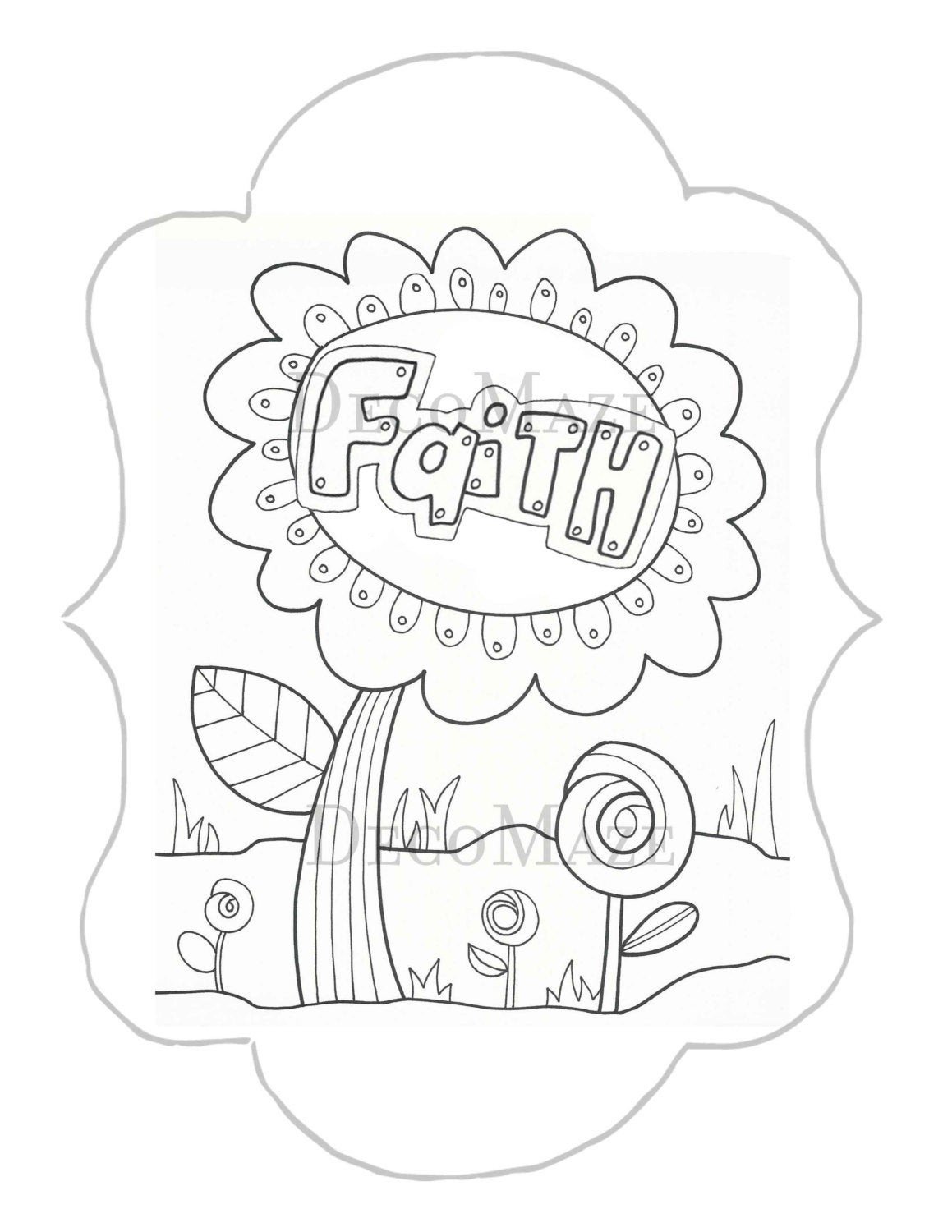 Best ideas about Faith Coloring Pages For Kids . Save or Pin Faith coloring page flower coloring page adult kids by Now.