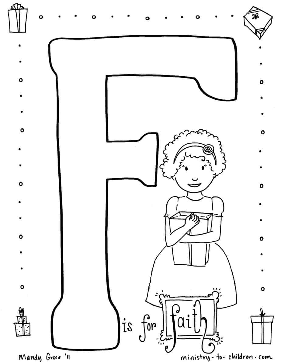 """Best ideas about Faith Coloring Pages For Kids . Save or Pin """"F is for Faith"""" Coloring Page Now."""