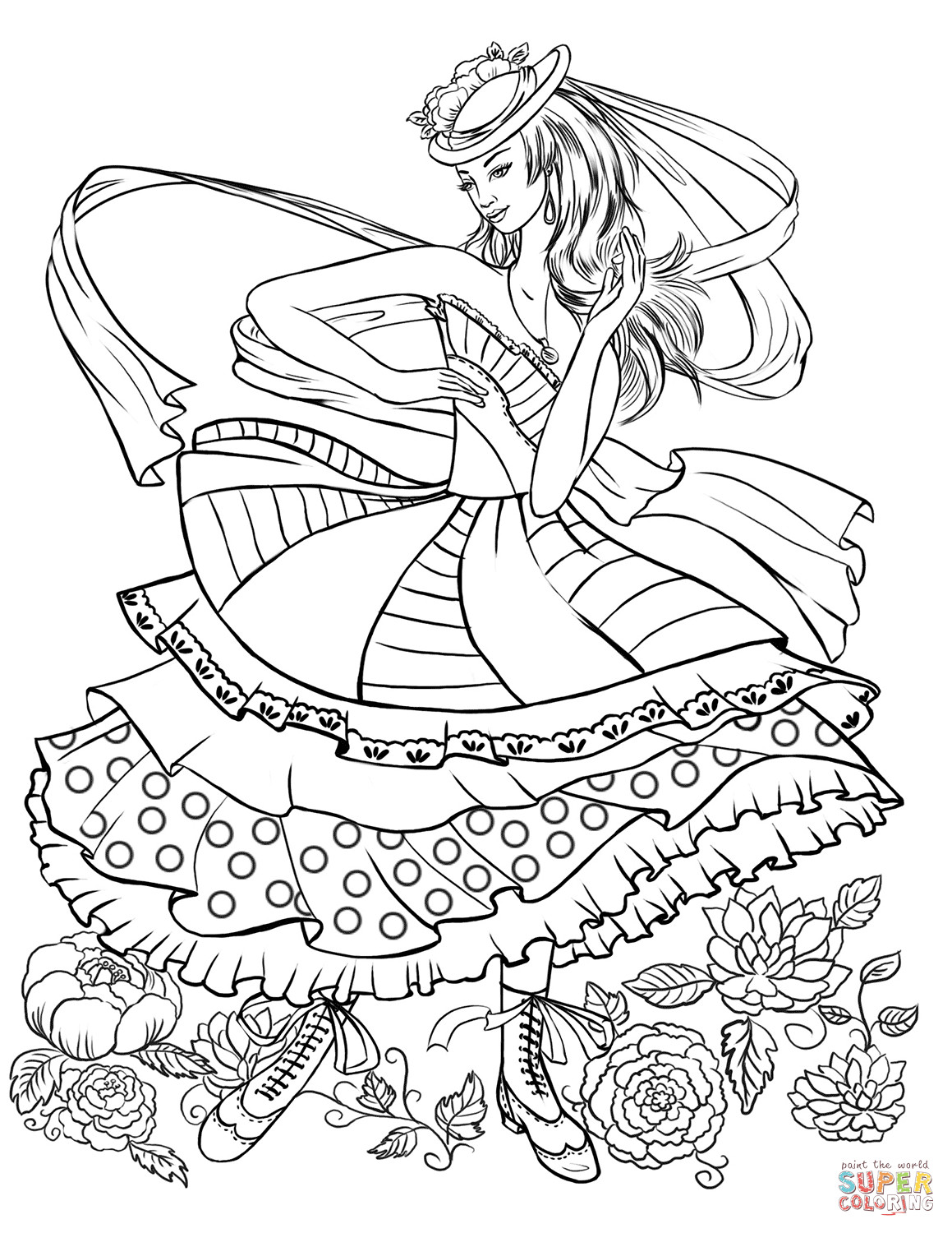 Best ideas about Fashion Coloring Pages For Girls Printable . Save or Pin Girl Dancing in a Vintage Fashion Clothing coloring page Now.